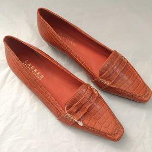 Lauren Ralph Lauren Shoes - LRL Sibley Orange Leather Croc Loafers